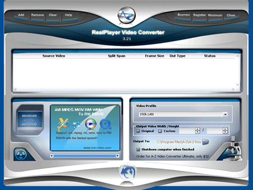 A-Z RealPlayer Video Converter Screenshot