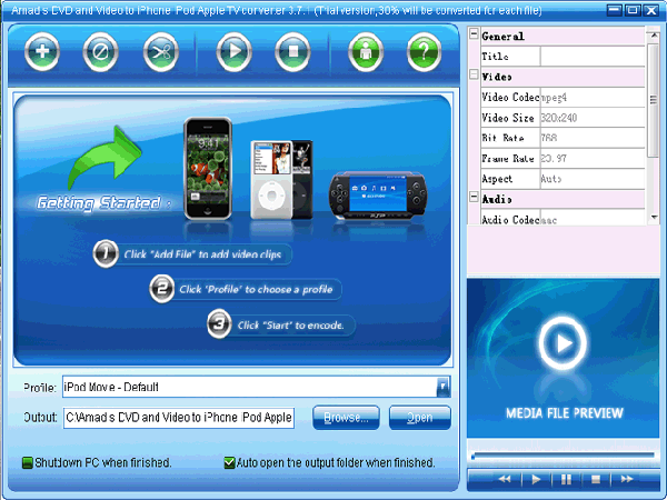 Amadis DVD and Video to iPhone iPod Screenshot