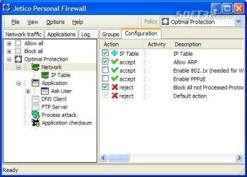 Jetico Personal Firewall Screenshot