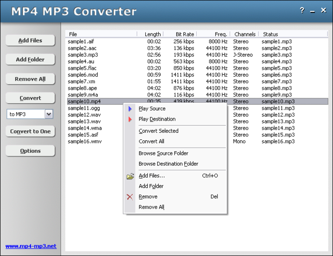 HooTech MP4 MP3 Converter Screenshot