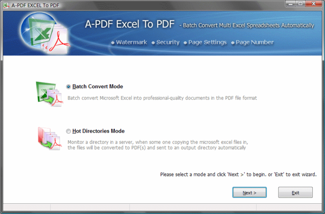 A-PDF Excel to PDF Screenshot