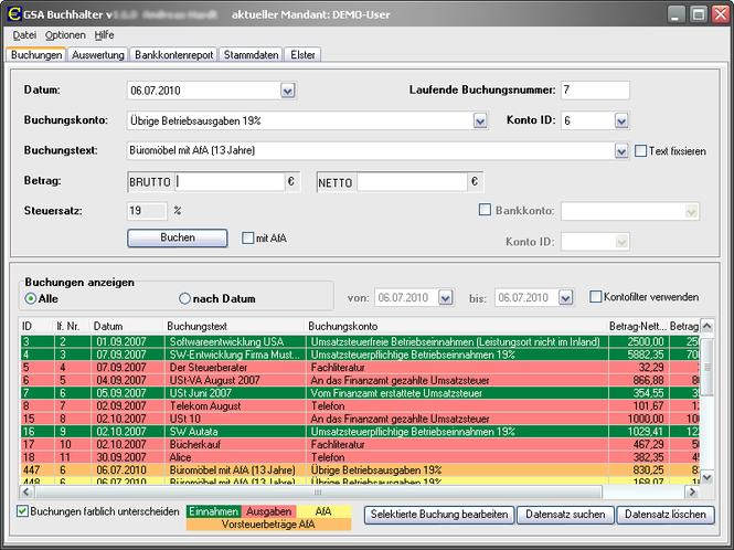 GSA Buchhalter Screenshot