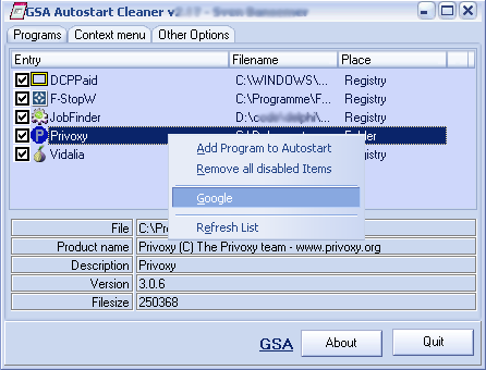 GSA Autostart Cleaner Screenshot 1