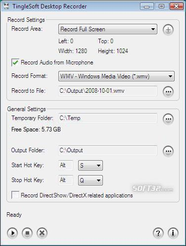 TingleSoft Desktop Recorder Screenshot