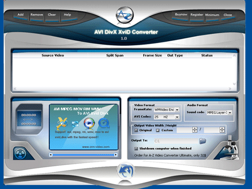 A-Z AVI DIVX XVID Converter Screenshot