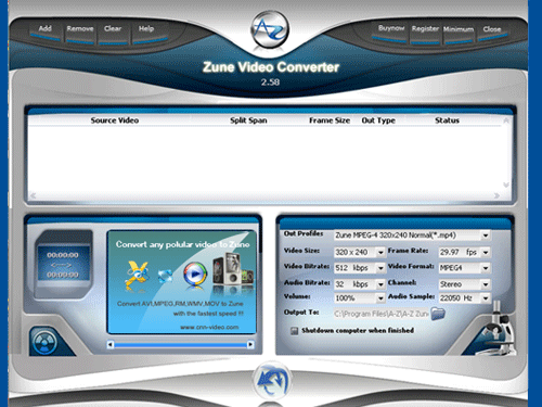 A-Z Zune Video Converter Screenshot