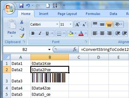 Code 128 Excel Barcode Add In Screenshot