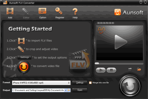 Aunsoft FLV Converter Screenshot 2