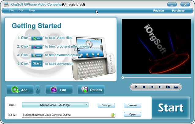 iOrgSoft GPhone Video Converter Screenshot
