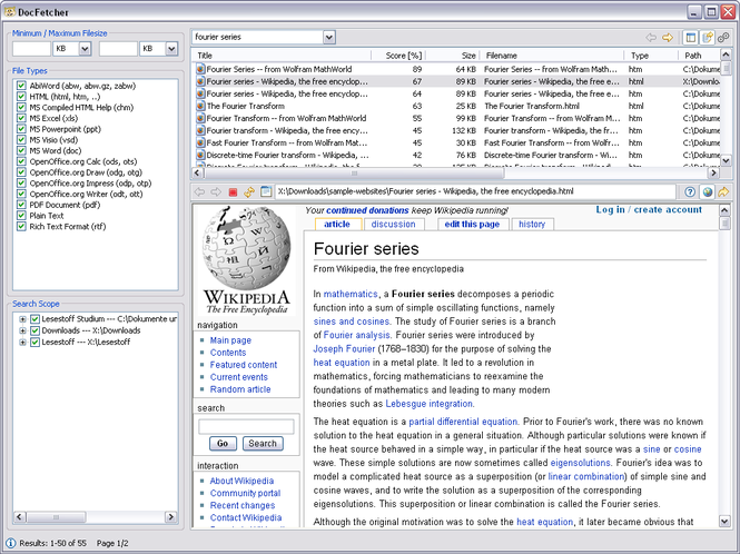 DocFetcher Screenshot