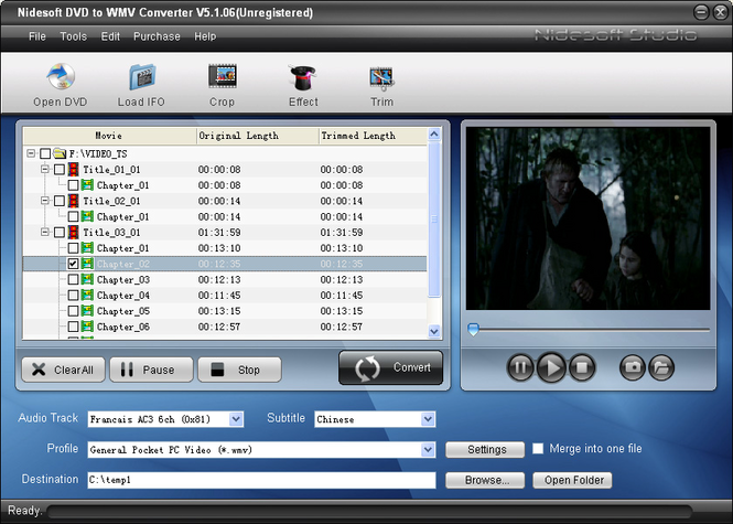 Nidesoft DVD to WMV Converter Screenshot 1