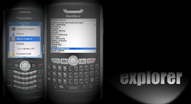 Aerize Explorer for T-mobile BlackBerry Curve 8320 Screenshot