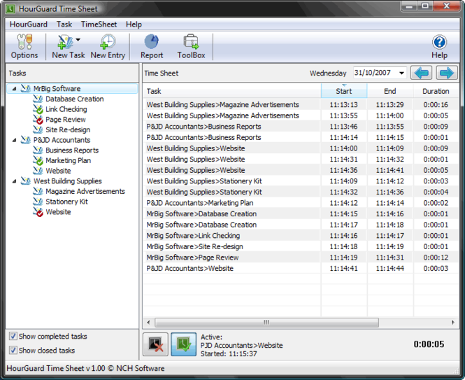 HourGuard Timesheet Software Screenshot