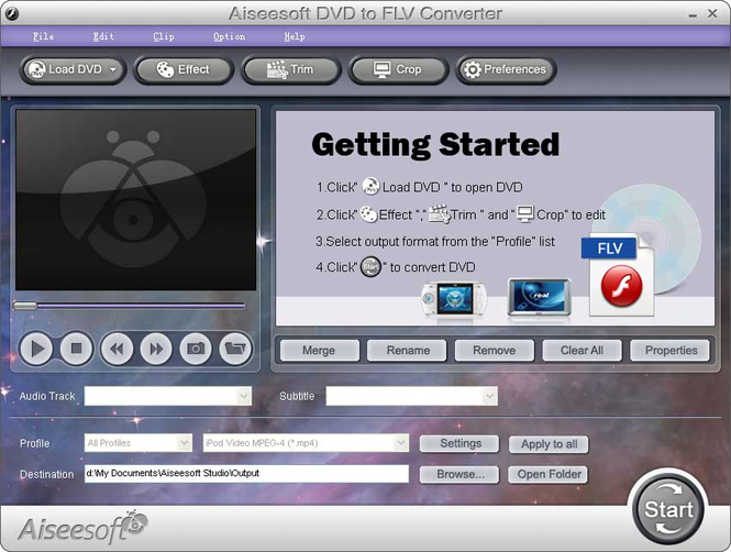 Aiseesoft DVD to FLV Converter Screenshot