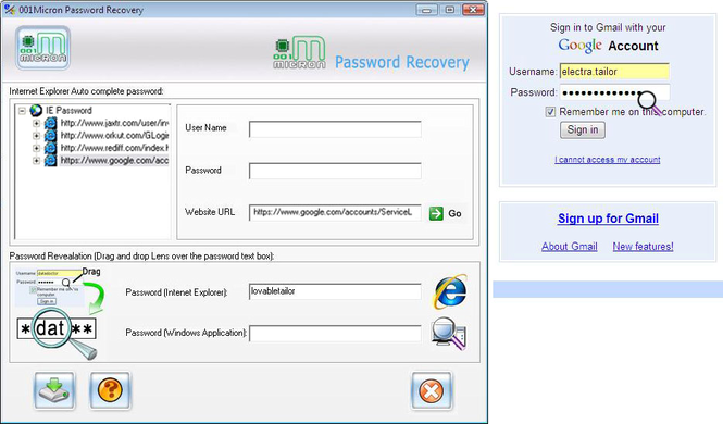 IE Password Restoration Software Screenshot