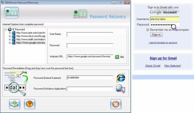 IE Password Restoration Software Screenshot 2