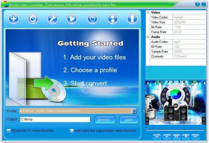Bestel AVI WMV FLV RM MPEG MOV iPod iPhone 3GP Video Converter Screenshot 2