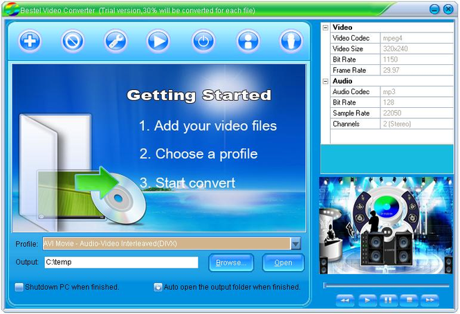 Bestel AVI WMV FLV RM MPEG MOV iPod iPhone 3GP Video Converter Screenshot