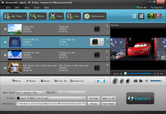 Aiseesoft Apple TV Video Converter Screenshot