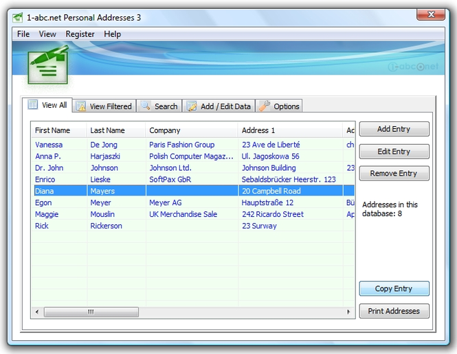1-abc.net Personal Addresses Screenshot