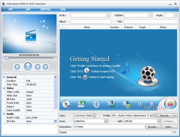 Joboshare DVD to AVI Converter Screenshot 3