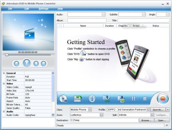 Joboshare DVD to Mobile Phone Converter Screenshot 3