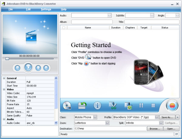 Joboshare DVD to BlackBerry Converter Screenshot