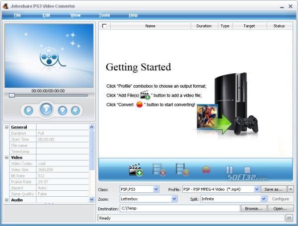 Joboshare PS3 Video Converter Screenshot 3