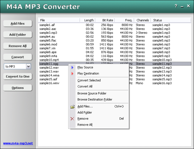 M4A MP3 Converter Screenshot