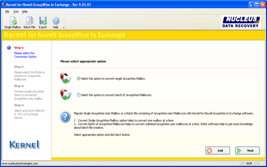 Groupwise to Exchange Migration Screenshot