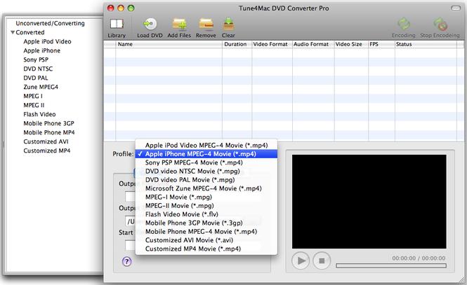 Tune4Mac DVD Converter for Mac Screenshot
