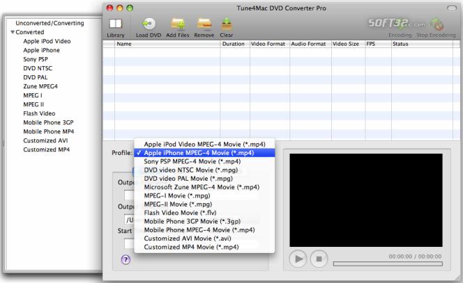 Tune4Mac DVD Converter for Mac Screenshot 2
