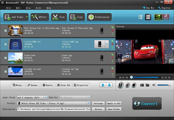 Aiseesoft 3GP Video Converter Screenshot 1