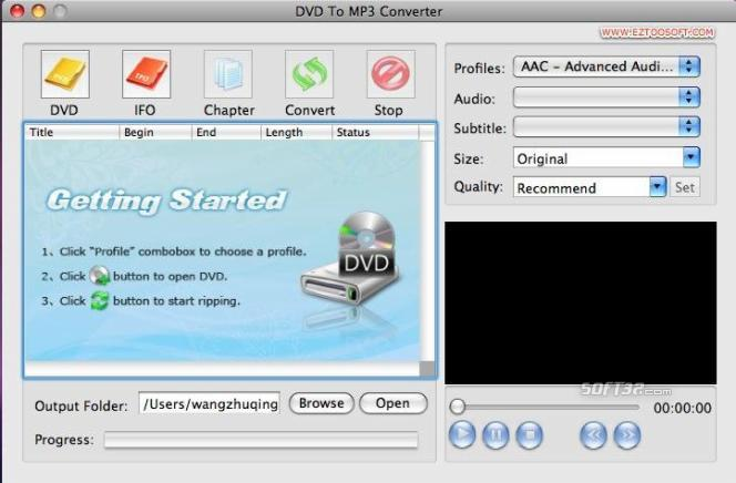 Eztoo DVD To MP3 Converter for MAC Screenshot 2