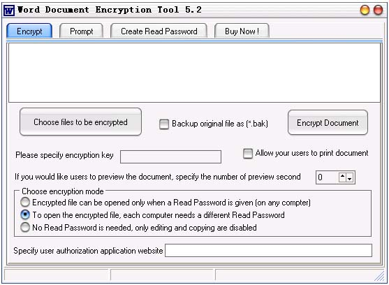 Word Document Encryption Tool Screenshot