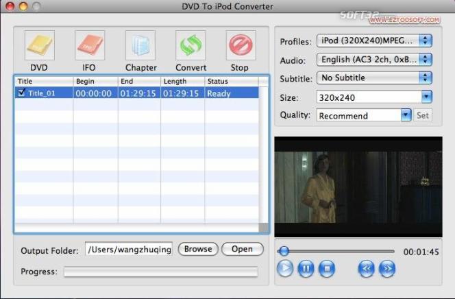 Eztoo DVD To iPod Converter for MAC Screenshot 3