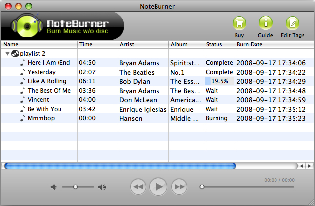 NoteBurner Mac M4P to MP3 Converter Screenshot 1