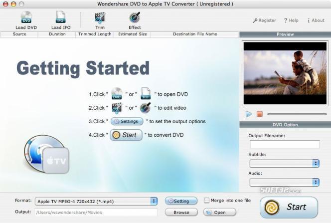 Wondershare DVD to Apple TV Converter for Mac Screenshot