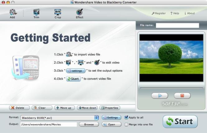 Wondershare Video to BlackBerry Converter for Mac Screenshot 1