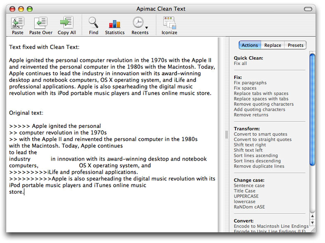 Clean Text for Mac Screenshot