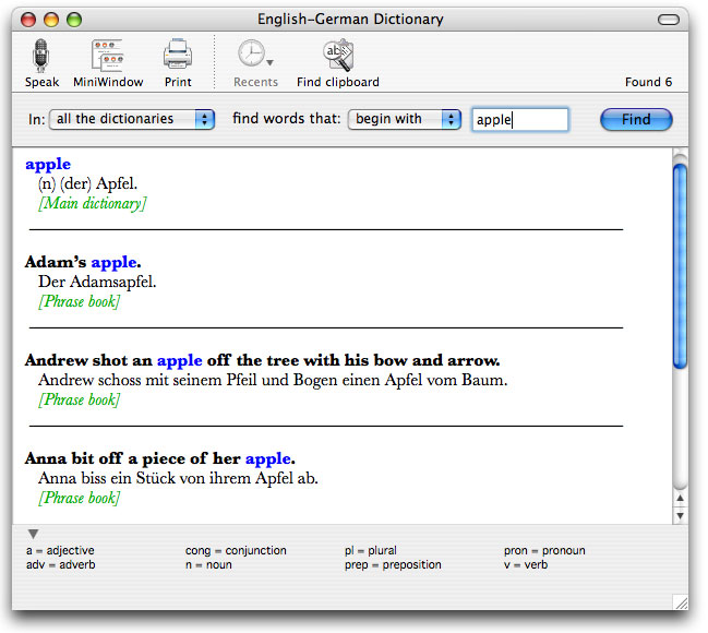 English-German Dictionary for Mac Screenshot 1