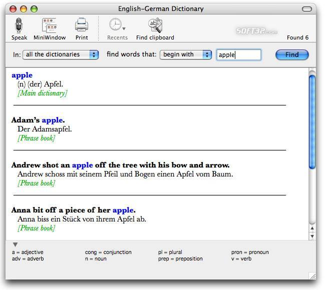 English-German Dictionary for Mac Screenshot 2