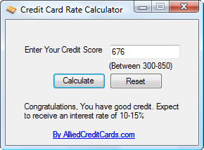 Credit Card Rate Calculator Screenshot
