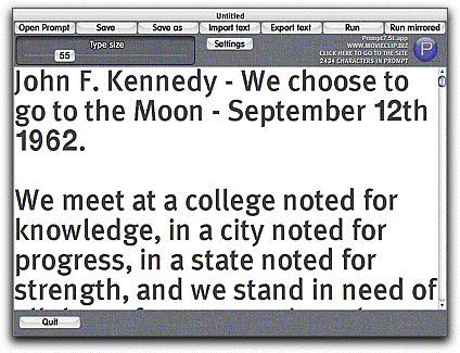 Prompt! teleprompter for Mac OSX Screenshot