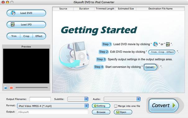 iBestsoft DVD to iPod Converter Mac Screenshot 1