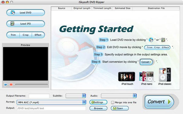 iBestSoft DVD Ripper for mac Screenshot