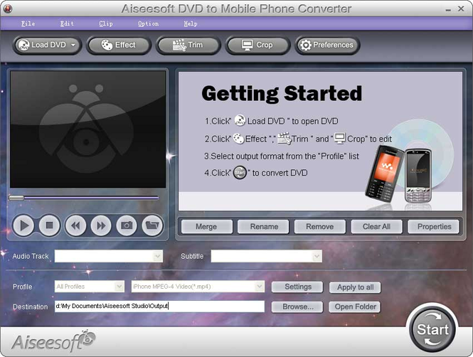 Aiseesoft DVD to Mobile Phone Converter Screenshot