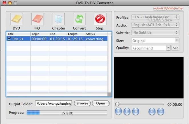 Eztoo DVD To FLV Converter for MAC Screenshot 2