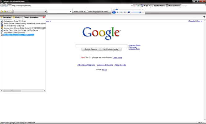 GINternet Explorer Screenshot