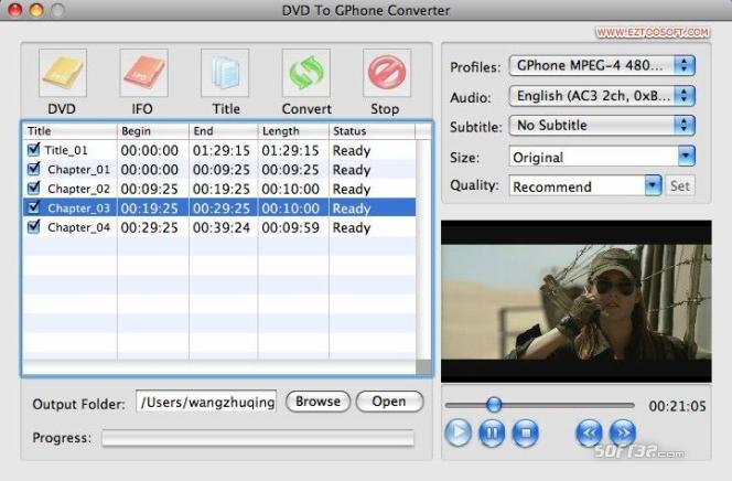 Eztoo DVD To GPhone Converter for MAC Screenshot 2